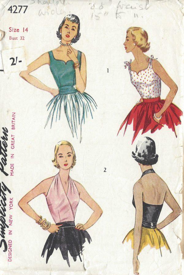 1953 Vintage Sewing Pattern B32 Halter Blouse Cummerbund R917