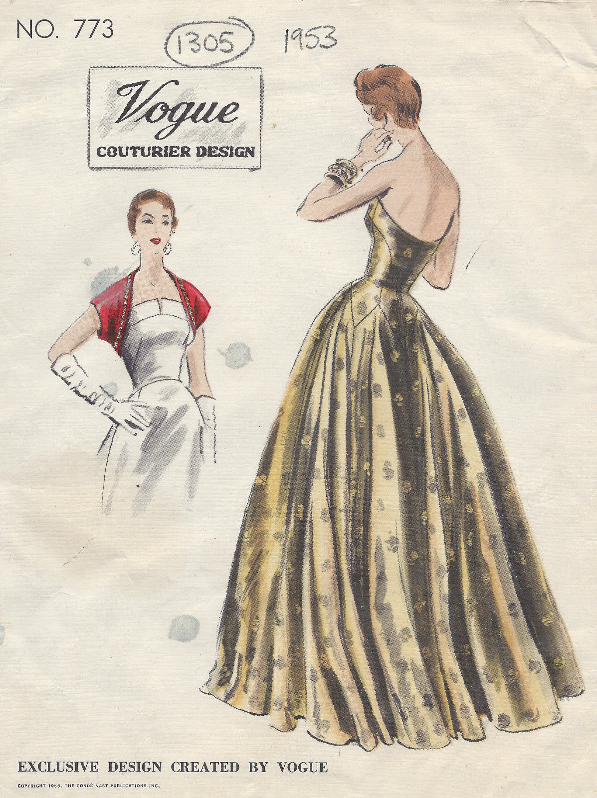 1953 Vintage Vogue Sewing Pattern B30 Evening Dress Gown