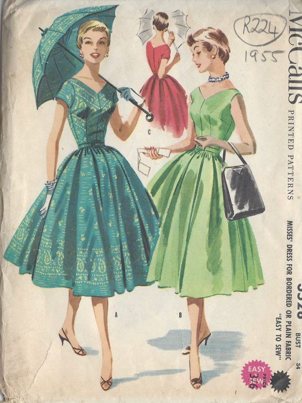 1955 Vintage Sewing Pattern B34 Quot Dress R224 The