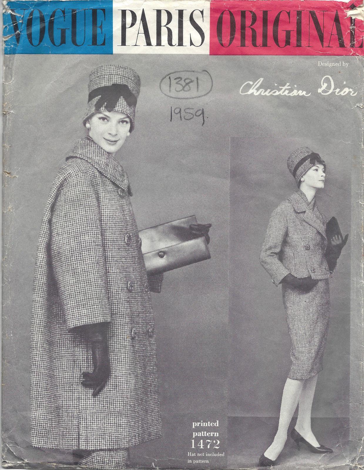 1959 Vintage Vogue Sewing Pattern B34 Suit Coat Jacket Skirt Scarf 1381 Dior The Vintage Pattern Shop