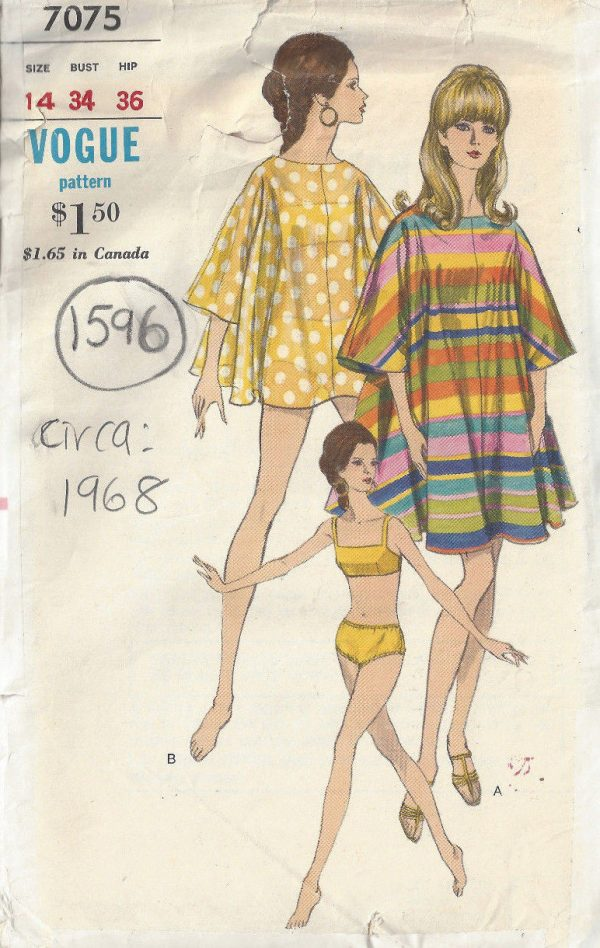 1960s-Vintage-VOGUE-Sewing-Pattern-B34-SWIM-SUIT-COVER-UP-1596-252847099857