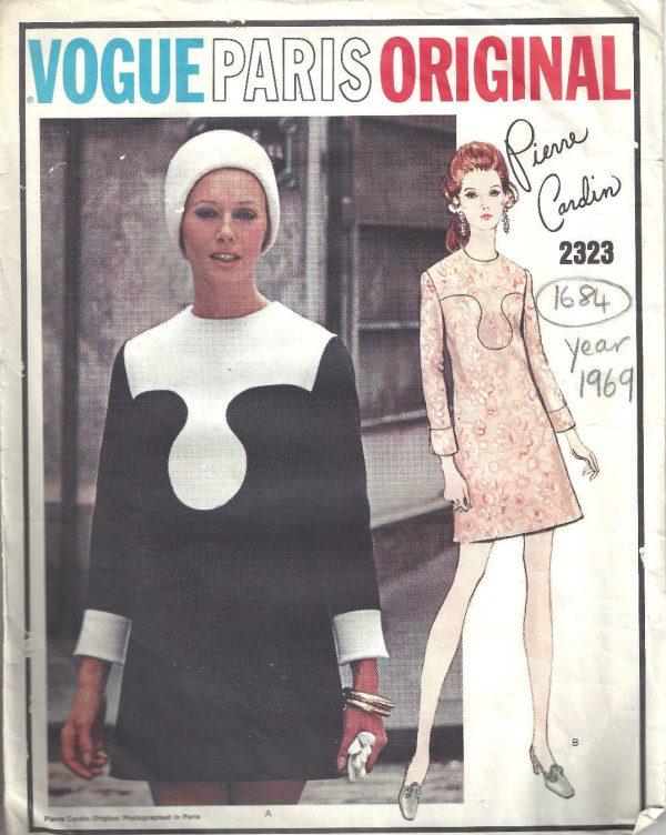 1969 Vintage Sewing Pattern Dress B36 1684 By Pierre Cardin The