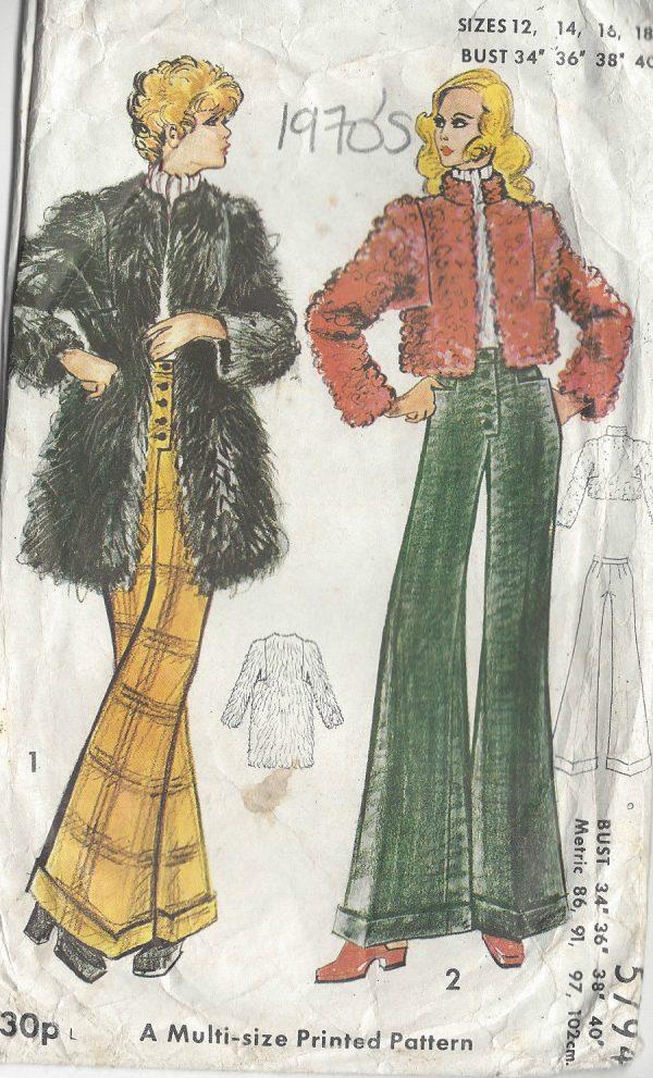 1970s-Vintage-Sewing-Pattern-B34-36-38-40-PANTS-COAT-R699-251181624627