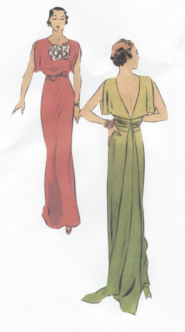 1930s Vintage Vogue Sewing Pattern B34 Evening Dress With
