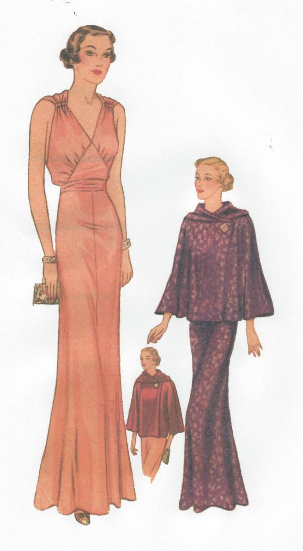 1939 Vintage Sewing Pattern B36 Cape Evening Dress