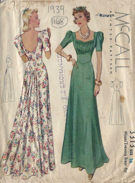 1939 Vintage Sewing Pattern EVENING DRESS B34 (1168) - The Vintage ...
