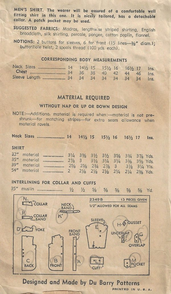 1939-Vintage-Sewing-Pattern-Size15-12-Chest-40-MENS-SHIRT-1779-262797135598-2