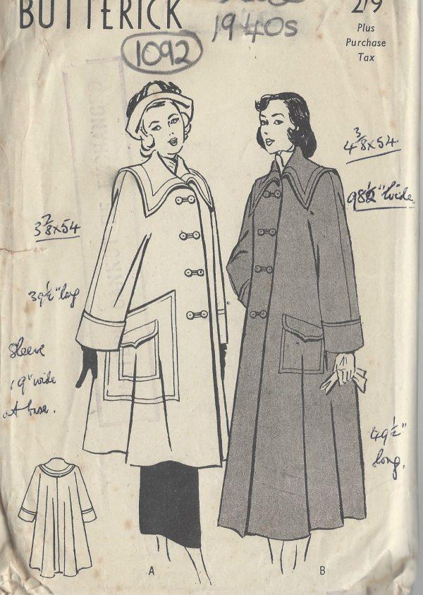 1940s-Vintage-Sewing-Pattern-B34-SWING-COAT-1092-261278017658