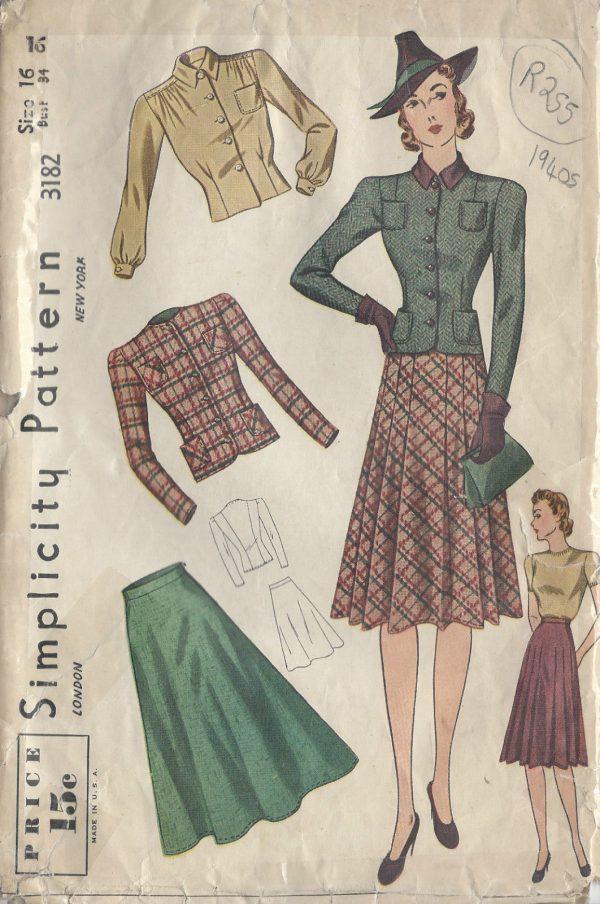 1940s Vintage Sewing Pattern JACKET, SKIRT & BLOUSE B34\