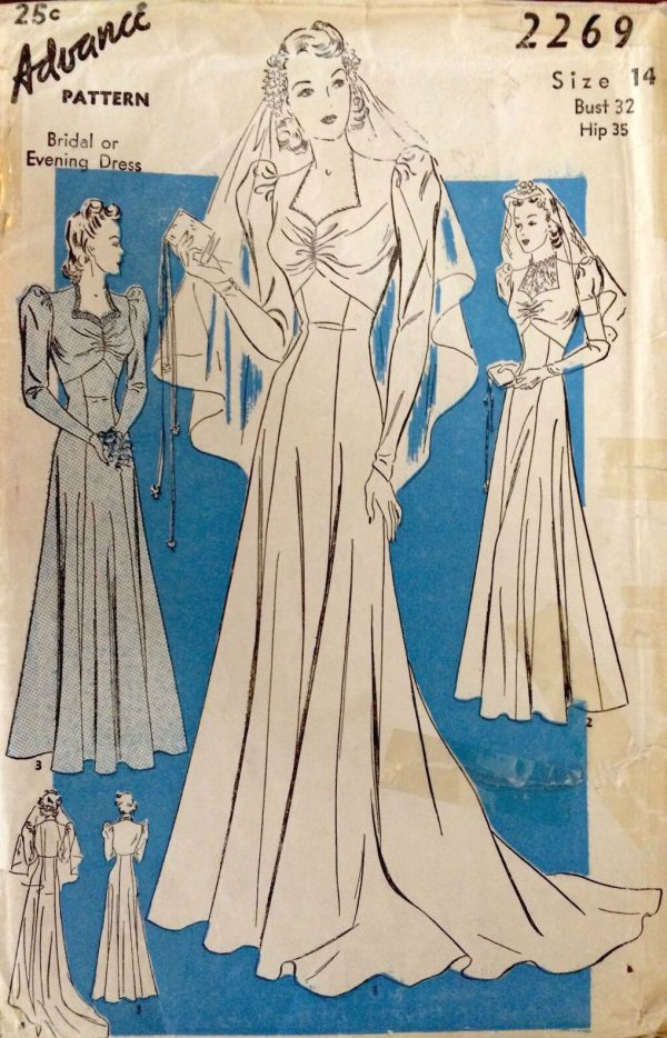 1940s Ww2 Vintage Sewing Pattern B32 Bridal Evening Dress With