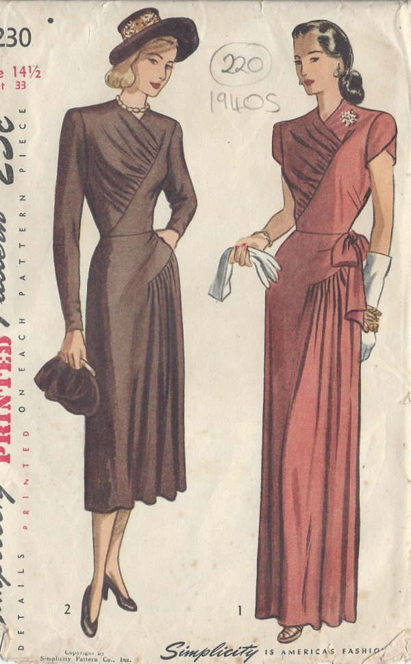"""1940s Style Dresses Fashion Clothing: 1947 Vintage Sewing Pattern DRESS B33"""" (220)"""