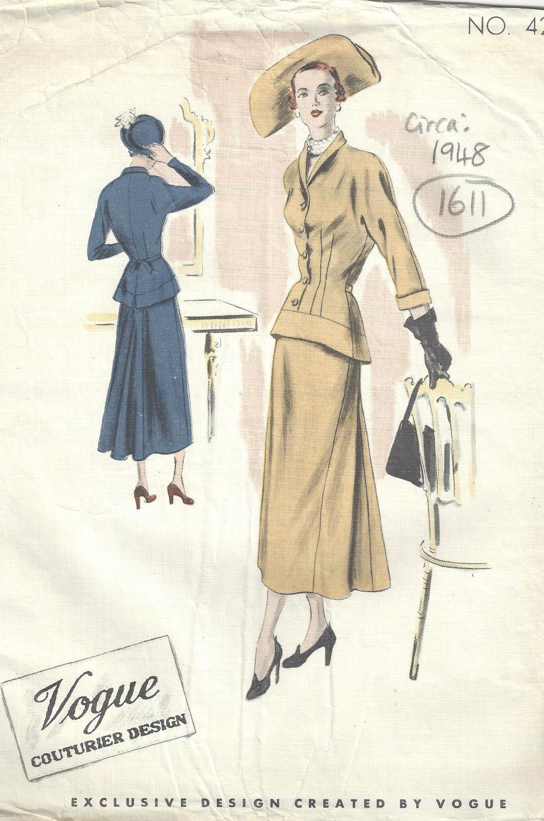 1948-Vintage-VOGUE-Sewing-Pattern-B34-DRESS-1611-262386428948 - The ...