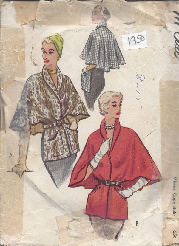 1950-Vintage-Sewing-Pattern-STOLE-CAPE-B36-38-LARGE-R760-251182564888