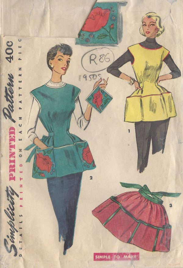 1950s-Vintage-Sewing-Pattern-APRON-B30-32-SMALL-R86-251145601078