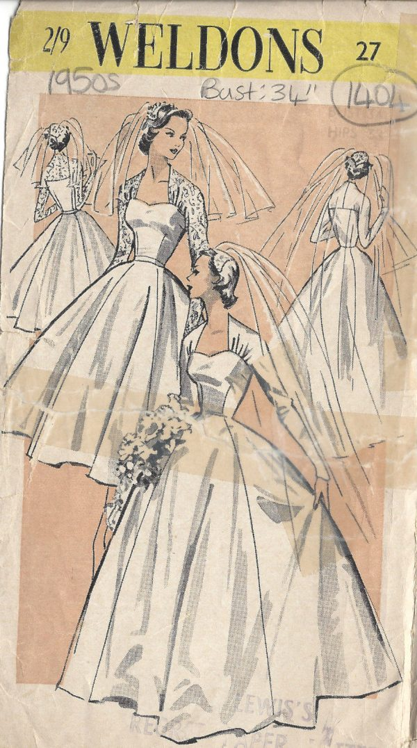 1950s Vintage Sewing Pattern B34 Bride S Wedding Dress 1404r The Vintage Pattern Shop