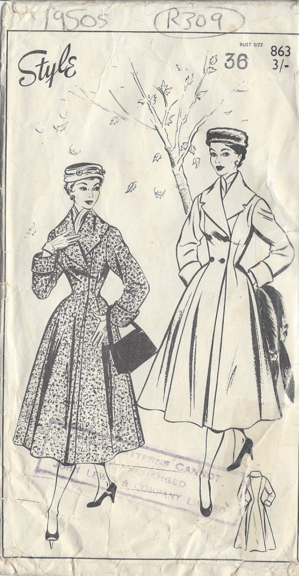 1950s Vintage Sewing Pattern COAT B36\' (R309) BY Style 863 - The ...