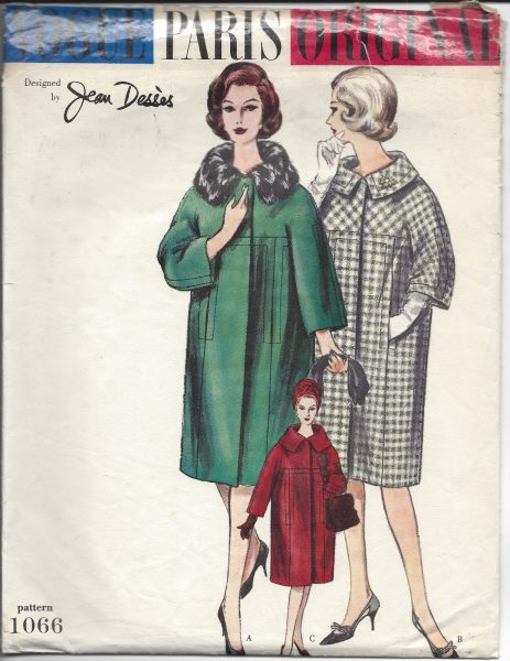 1950s Vintage VOGUE Sewing Pattern B34 COAT (1333) BY JEAN DESSES ...