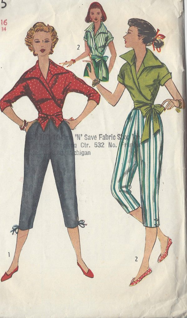 1953-Vintage-Sewing-Pattern-B34-BLOUSE-PEDAL-PUSHERS-R839-261163395908