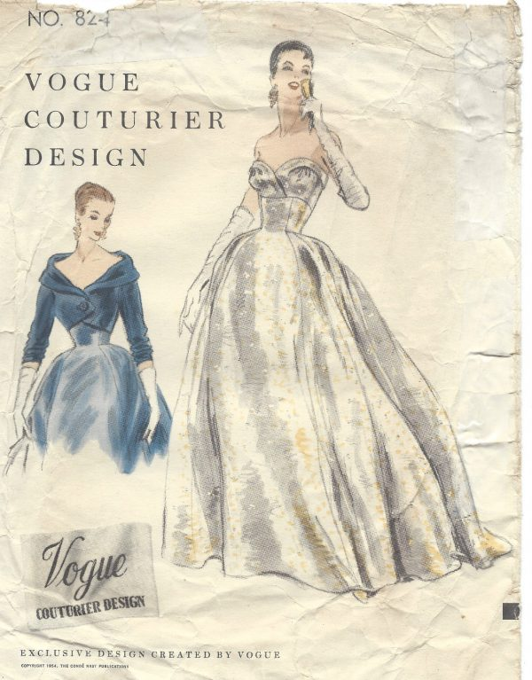 1954 Vintage VOGUE Sewing Pattern B32 DRESS EVENING GOWN BOLERO ...