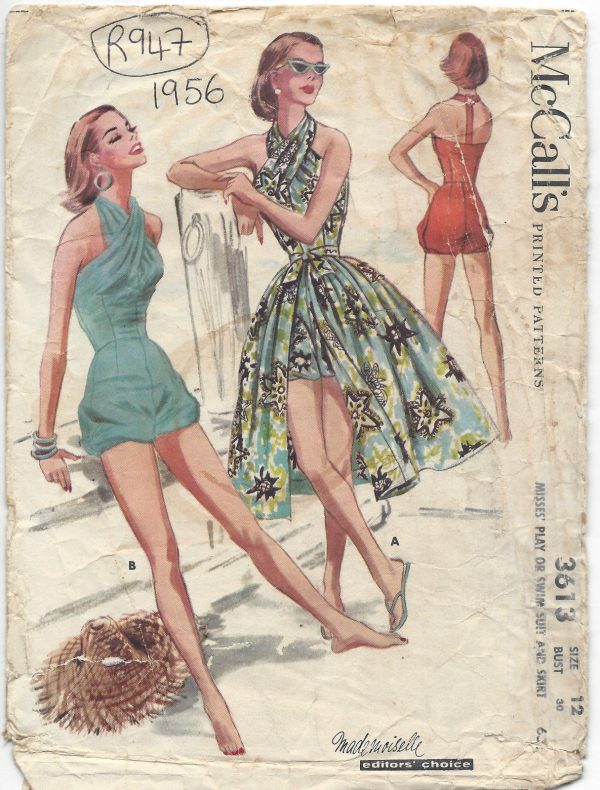 1956 Vintage Sewing Pattern B30 HALTERNECK BATHING SUIT SKIRT ...