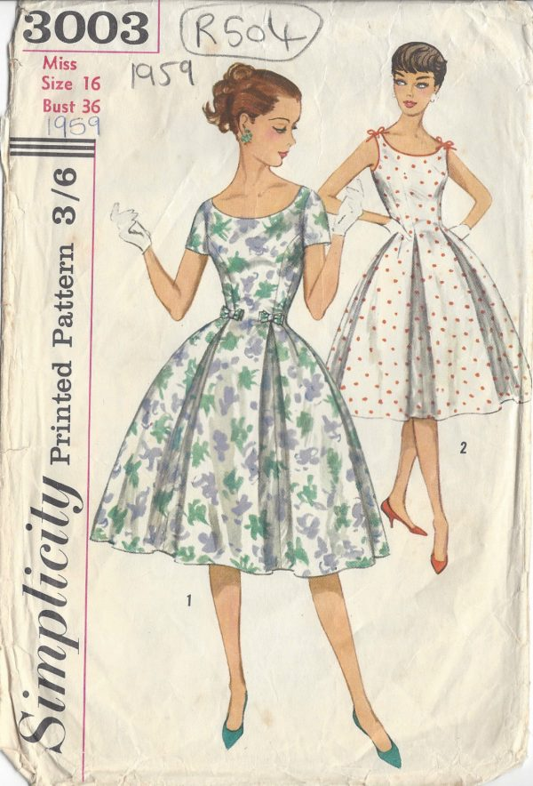 1959 Vintage Sewing Pattern DRESS B36\