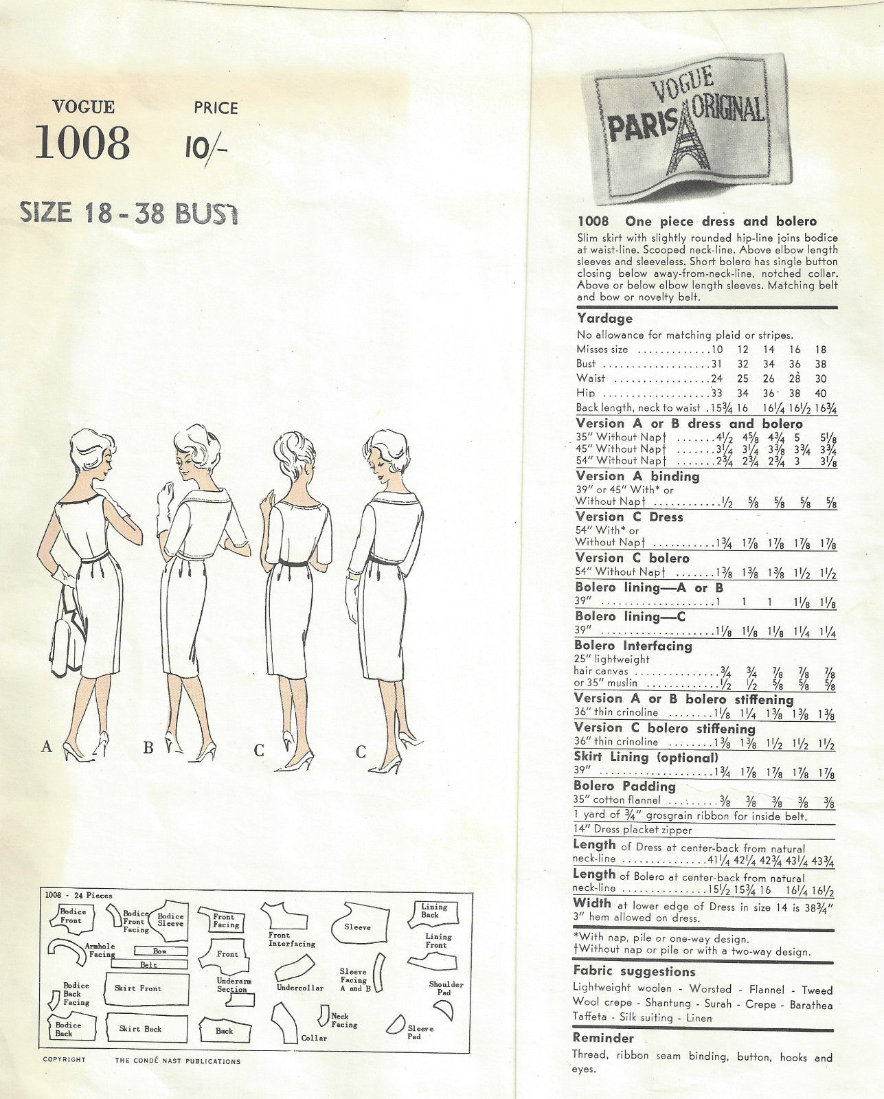 1960 Vintage VOGUE Sewing Pattern B38 BOLERO JACKET & DRESS (1555R ...