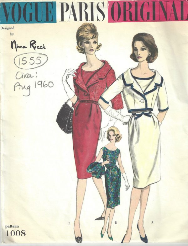 1960 Vintage VOGUE Sewing Pattern B38 BOLERO JACKET & DRESS (1555R ...