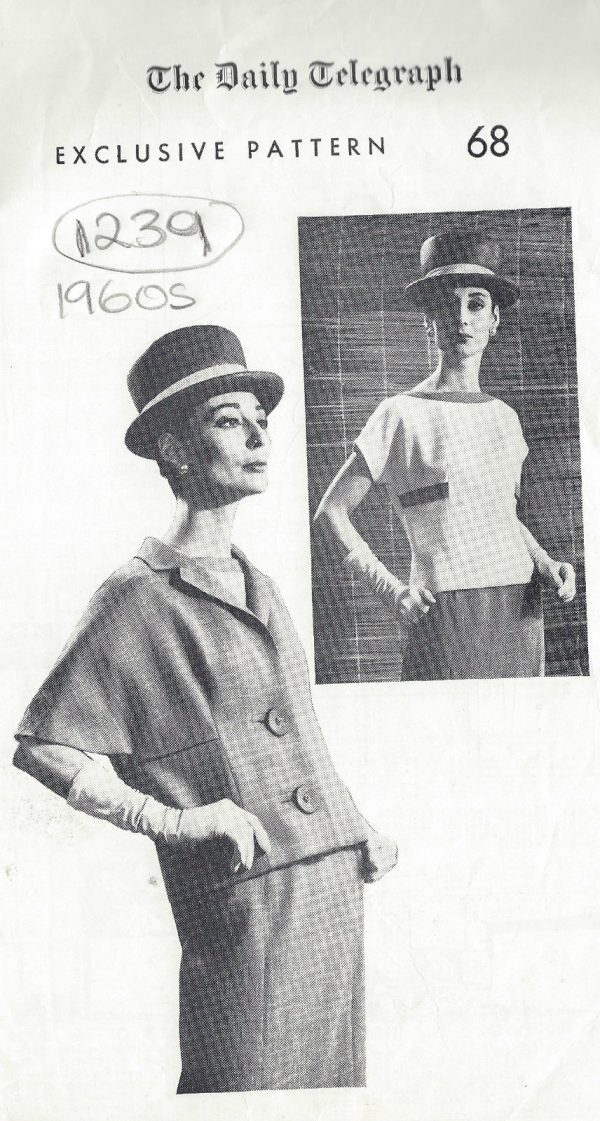 1064R 1960s Vintage VOGUE Sewing Pattern B38 JACKET SKIRT BLOUSE By Molyneux