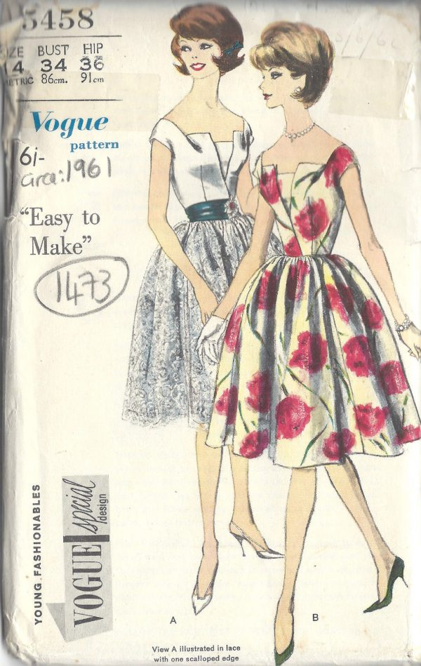 1961-Vintage-VOGUE-Sewing-Pattern-B34-DRESS-PETTICOAT-1473R-261986961478