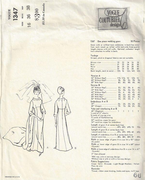1964 Vintage VOGUE Sewing Pattern B36 WEDDING DRESS