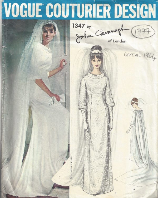 1964 Vintage VOGUE Sewing Pattern B36 WEDDING DRESS GOWN (1777) BY ...