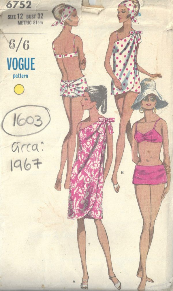 1967-Vintage-VOGUE-Sewing-Pattern-B32-TWO-PIECE-BATHING-SUIT-COVERUP-1603-252340980648