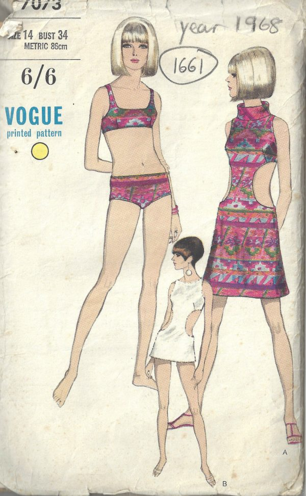 1968-Vintage-VOGUE-Sewing-Pattern-B34-SWIM-SUIT-COVERUP-1661-262451978058