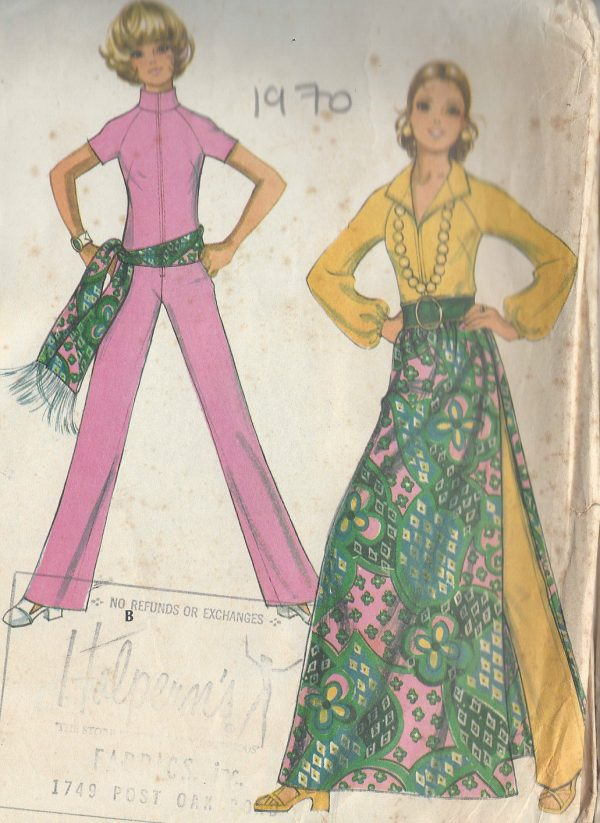 1970-Vintage-Sewing-Pattern-B36-JUMPSUIT-SKIRT-SASH-R677-251181551908