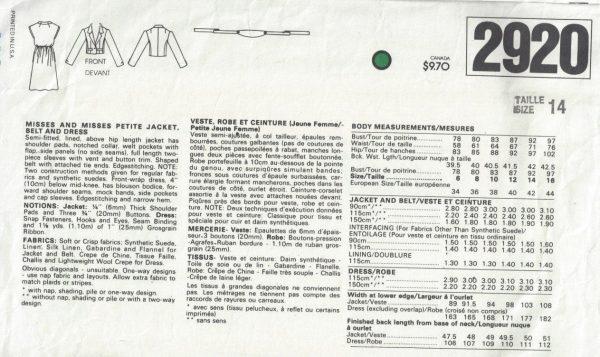1980s-Vintage-VOGUE-Sewing-Pattern-B36-JACKET-DRESS-BELT-1708R-Adele-Simpson-262559813428-2