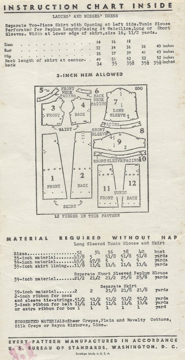 1930s-Vintage-Sewing-Pattern-B32-DRESS-TUNIC-BLOUSE-1530R-262080975579-2