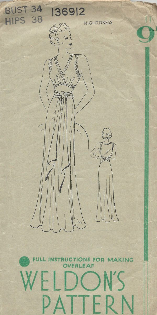 1940-WW2-Vintage-Sewing-Pattern-B34-NIGHTDRESS-1478-252055840969