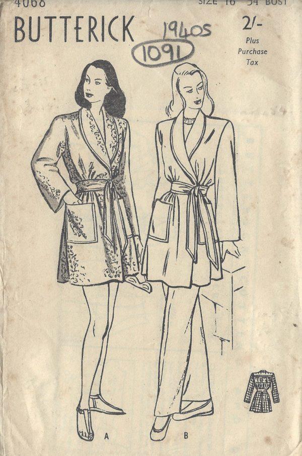 1940s-Vintage-Sewing-Pattern-B34-BEACH-SPORTS-COAT-1091-251331343619