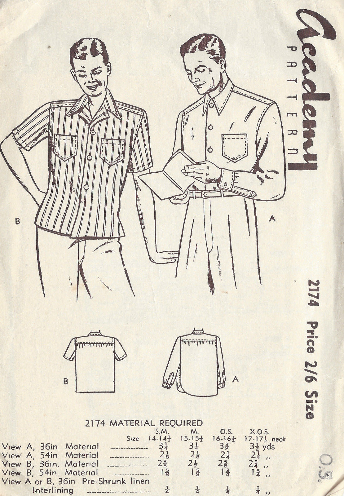 1940s Vintage Sewing Pattern Size16 16 1 2 Mens Shirt
