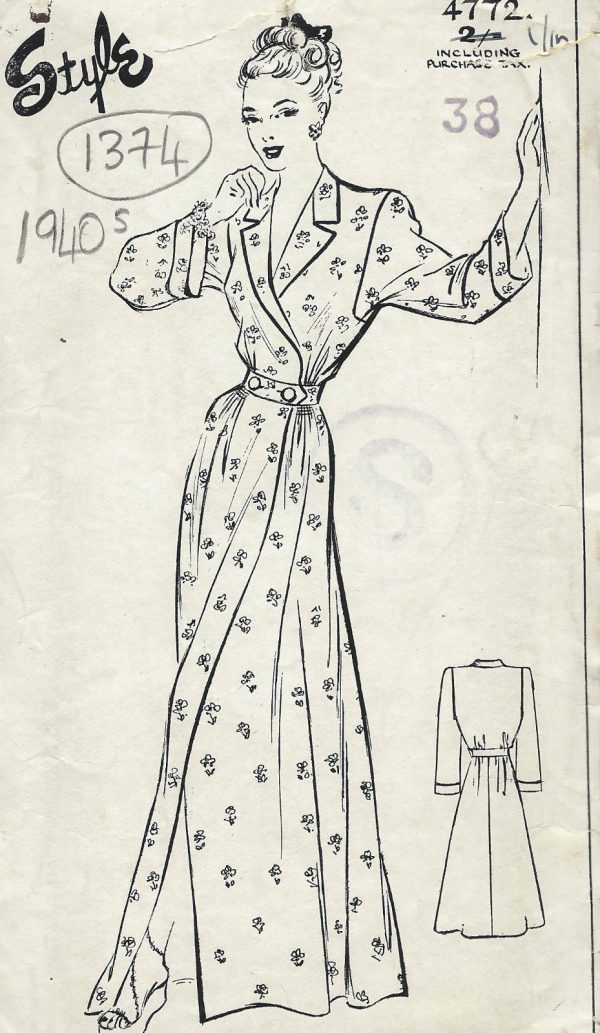 1940s WW2 Vintage Sewing Pattern B38 HOUSE COAT DRESSING GOWN (1374 ...