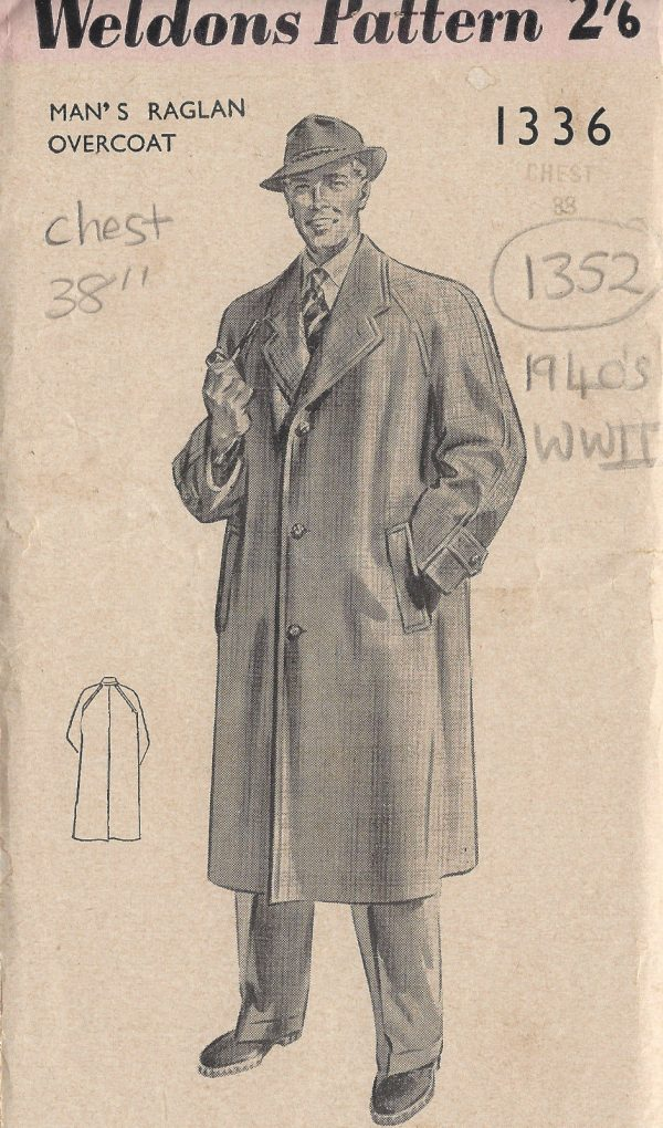 1940s WW2 Vintage Sewing Pattern MEN\'S RAGLAN OVERCOAT C38\