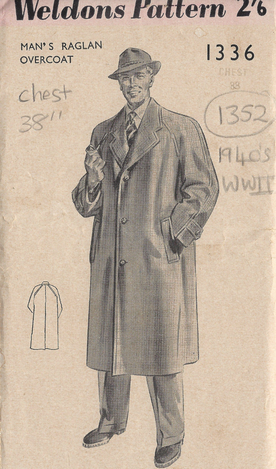 1940s WW2 Vintage Sewing Pattern MEN\'S RAGLAN OVERCOAT C38\