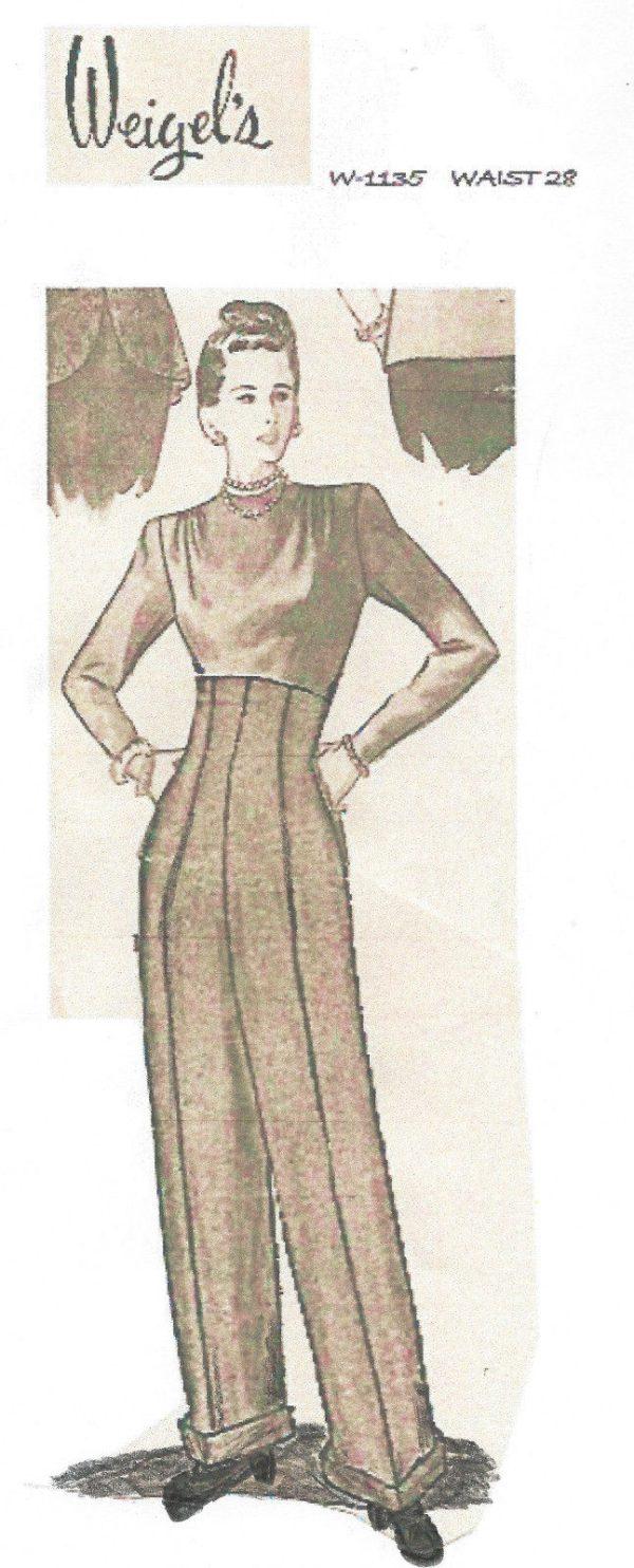 1940s Ww2 Vintage Sewing Pattern W28 Womens Pants Trousers
