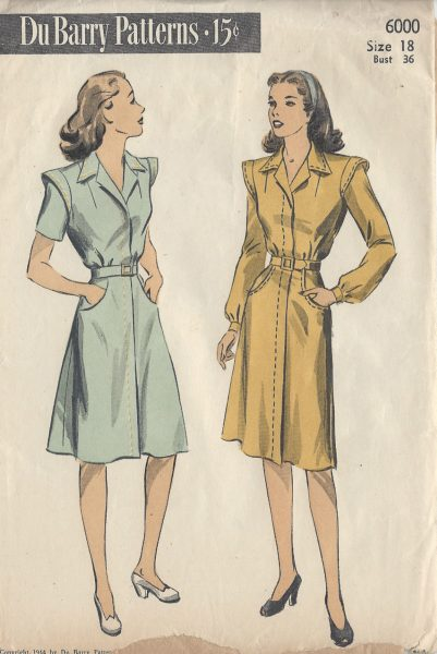 1944 WW2 Vintage Sewing Pattern B36 DRESS (R671) By Du Barry - The ...