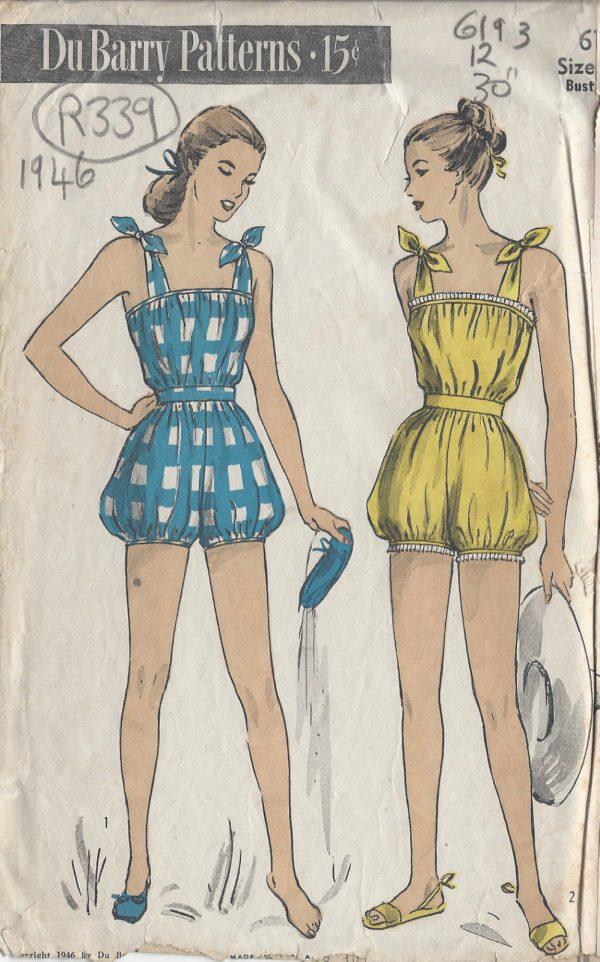 1946 Vintage Sewing Pattern BEACHWEAR-PLAYSUIT B30\