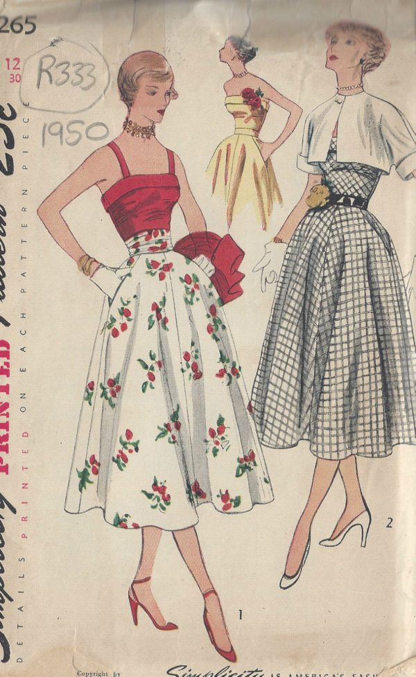 1950-Vintage-Sewing-Pattern-B30-SKIRT-TOP-BOLERO-CUMMERBUND-R333-251161096369