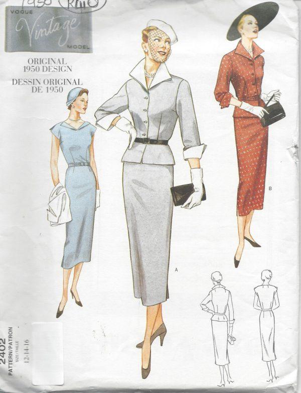 1950-Vintage-VOGUE-Sewing-Pattern-B34-36-38-DRESS-JACKET-R410-251157396129