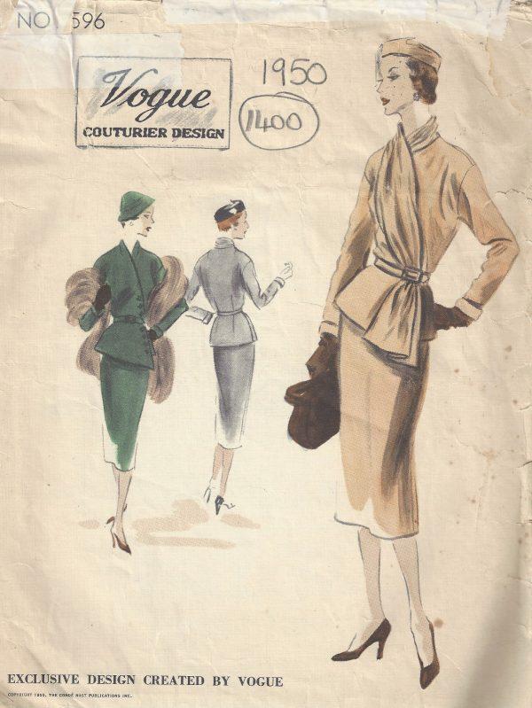 1950-Vintage-VOGUE-Sewing-Pattern-B40-SUIT-DRESS-SKIRT-JACKET-SCARF-1400RR-252701330609