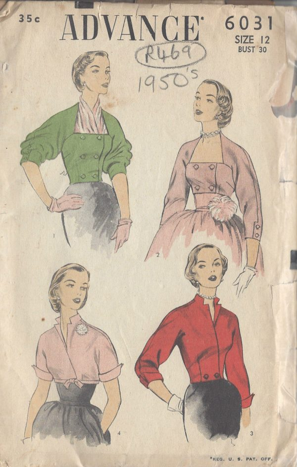 1950s Vintage Sewing Pattern BOLERO/JACKET B30\