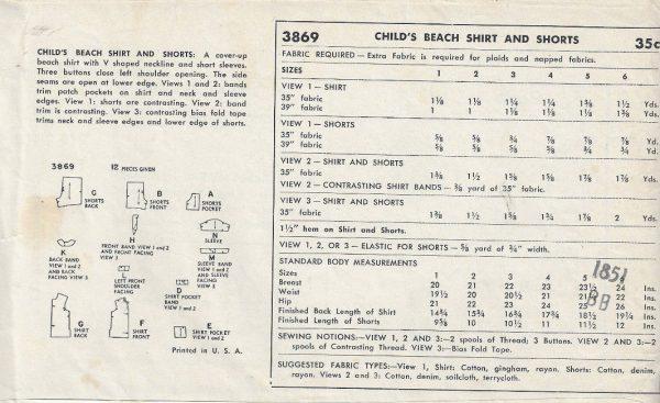1952 Childrens Vintage Sewing Pattern S5 B23.5 BEACH SHIRT SHORTS ...